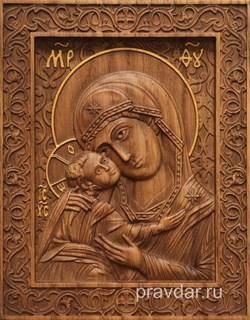 Игоревская Божия Матерь, резная икона на дубовой цельноламельной доске - фото 9141