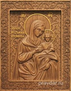 Урюпинская Божия Матерь, резная икона на дубовой цельноламельной доске - фото 9149
