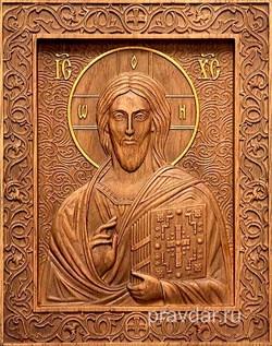 Господь Вседержитель, резная икона на дубовой цельноламельной доске - фото 9155
