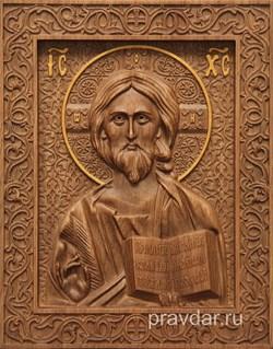 Господь Вседержитель, резная икона на дубовой цельноламельной доске - фото 9157