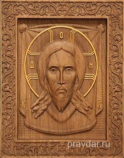 Спас Нерукотворный резная икона на дубовой цельноламельной доске - фото 9159