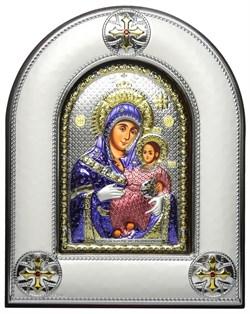 """Икона Божья Матерь """"Вифлеемская"""", греческая икона шелкография, оклад - вакуумное напыление серебром и золотом, цветная эмаль, деревянное основание. - фото 9222"""