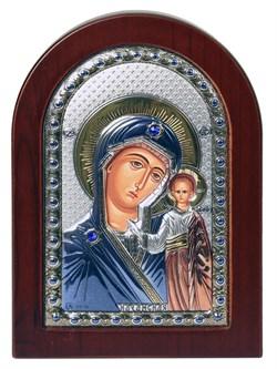Казанская Божья Матерь, греческая икона с серебряным окладом - фото 9225