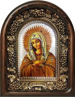 Умиление образ Божией Матери, дивеевская икона из бисера на перламутре ручной работы - фото 9227