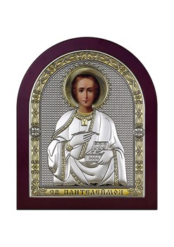 Пантелеймон целитель, серебряная икона с позолотой в деревянном окладе - фото 9236