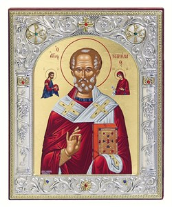 Николай Чудотворец, икона 12х14 см, шелкография, серебряный оклад, золочение, кристаллы Swarovski - фото 9243