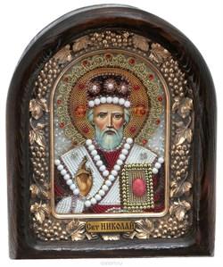 Николай Чудотворец, дивеевская икона из бисера и натуральных камней - фото 9254