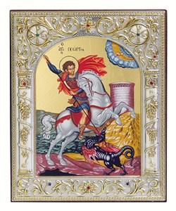 Георгий Победоносец, икона 12х14 см, шелкография, серебряный оклад, золочение+, кристаллы Swarovski - фото 9256