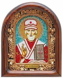 Николай Чудотворец, дивеевская икона из бисера ручной работы - фото 9260