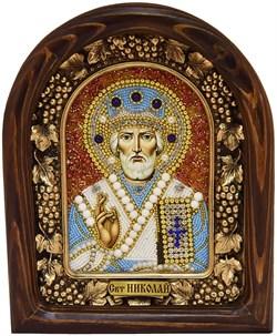 Николай Чудотворец, дивеевская икона из бисера ручной работы - фото 9261