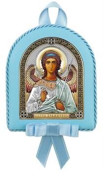 Ангел Хранитель, кожаный медальон с музыкой, серебряная икона цветная эмаль с позолотой - фото 9272