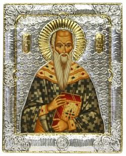 Святой Харлампий, икона с серебряной рамкой - фото 9283