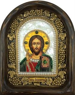Господь Вседержитель, дивеевская икона из бисера на перламутре ручной работы - фото 9293