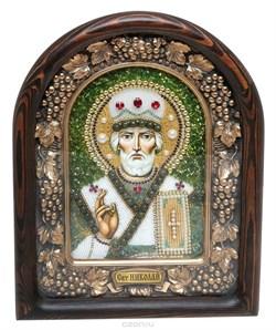Николай Чудотворец, дивеевская икона из бисера и натуральных камней - фото 9319