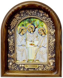 Святая Троица, дивеевская икона из бисера и натуральных камней - фото 9321