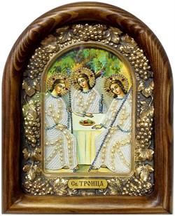 Святая Троица, дивеевская икона из бисера и натуральных камней - фото 9323