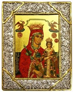 """Образ Божией Матери """"Неувядаемый цвет"""" , икона с серебряной рамкой - фото 9331"""