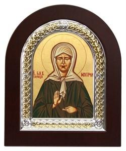 Матрона Московская, икона с серебряной рамкой в деревянным окладом - фото 9335