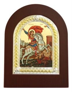 Георгий Победоносец, шелкография с серебряной рамкой, икона с серебряной рамкой в деревянным окладом - фото 9337