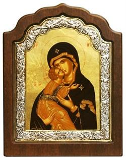 Владимирская Божья Матерь, икона шелкография, деревянный оклад, серебряная рамка - фото 9349