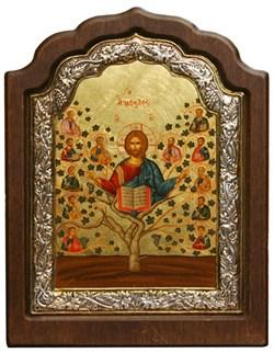 Спас Древо Жизни, икона шелкография, деревянный оклад, серебряная рамка - фото 9357