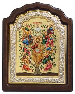 Спас Древо Жизни, икона шелкография, деревянный оклад, серебряная рамка - фото 9359