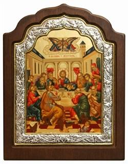Тайная Вечеря, икона с серебряной рамкой в деревянном окладе - фото 9361
