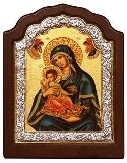 """Божья Матерь """"Керкира"""", икона шелкография, деревянный оклад, фигурная серебряная рамка - фото 9367"""