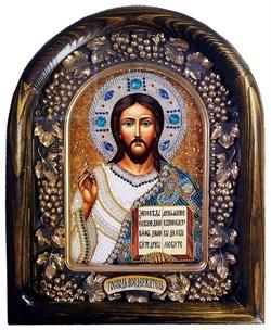 Господь Вседержитель, дивеевская икона из бисера ручной работы - фото 9370