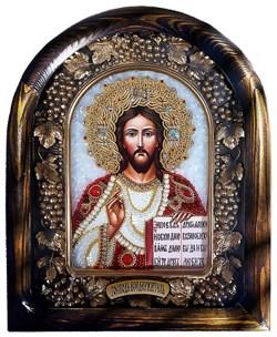 Господь Вседержитель, дивеевская икона из бисера и натуральных камней - фото 9390