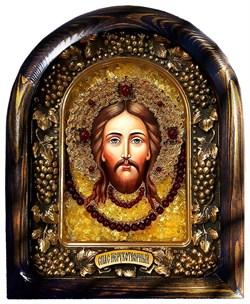 Спас Нерукотворный, икона с камнями и бисером ручной работы - фото 9393