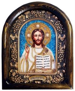 Господь Вседержитель, дивеевская икона из бисера ручной работы - фото 9402