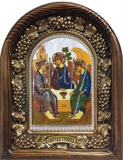 Святая Троица, дивеевская икона из бисера ручной работы - фото 9413
