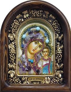 Казанская Божья Матерь, дивеевская икона из бисера и натуральных камней - фото 9430