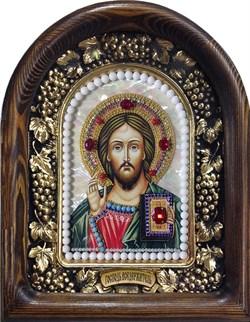 Господь Вседержитель, дивеевская икона из бисера на перламутре ручной работы - фото 9432