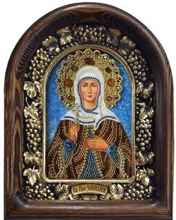 Икона Святая преподобная Эмилия, дивеевская икона из бисера - фото 9442