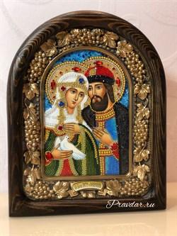 Святые Петр и Феврония, дивеевская икона из бисера ручной работы - фото 9466
