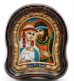 Святые Петр и Феврония, дивеевская икона из бисера ручной работы - фото 9537