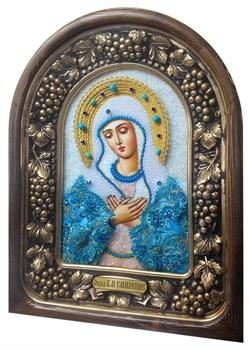 Умиление образ Божией Матери, дивеевская икона из бисера и натуральных камней - фото 9539