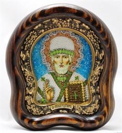 Николай Чудотворец, дивеевская икона из бисера ручной работы - фото 9547