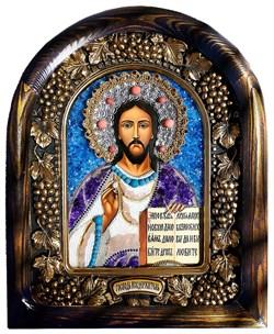Господь Вседержитель, дивеевская икона из бисера и натуральных камней - фото 9567