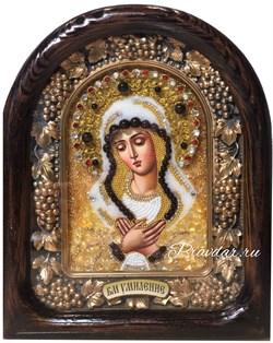 Умиление образ Божией Матери, дивеевская икона из бисера ручной работы - фото 9577