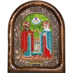 Святые Петр и Феврония, дивеевская икона из бисера ручной работы - фото 9618