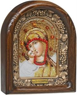 Владимирская Божья Матерь, дивеевская икона из бисера и натуральных камней - фото 9662