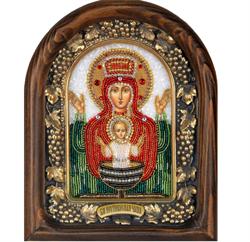 Неупиваемая Чаша образ Божией Матери, дивеевская икона из бисера ручной работы - фото 9672