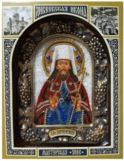 Святитель Димитрий (Дмитрий) Ростовский митрополит, дивеевская икона из бисера ручной работы - фото 9693