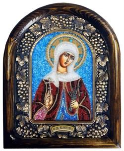 Мученица Валентина Кесарийская, дивеевская икона из бисера - фото 9697