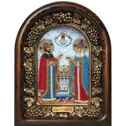 Святые Петр и Феврония, дивеевская икона из бисера ручной работы - фото 9732