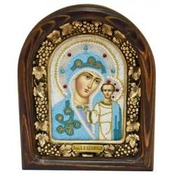 Казанская Божья Матерь, дивеевская икона из бисера ручной работы - фото 9743