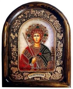 Святой великомученик Димитрий (Дмитрий) Солунский, дивеевская икона из бисера ручной работы - фото 9755